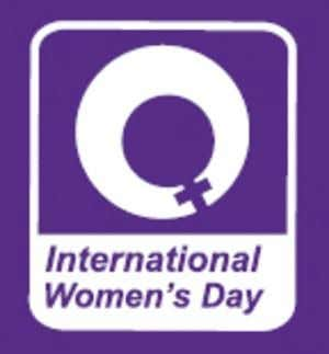 The International Women's Day logo is in purple and white and features the symbol of Venus,