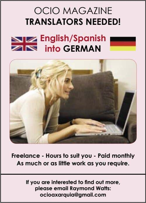 OCIO MAGAZINE TRANSLATORS NEEDED! English/Spanish into GERMAN Freelance - Hours to suit you - Paid
