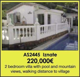 AS2445 Iznate 220,000€ 2 bedroom villa with pool and mountain views, walking distance to village