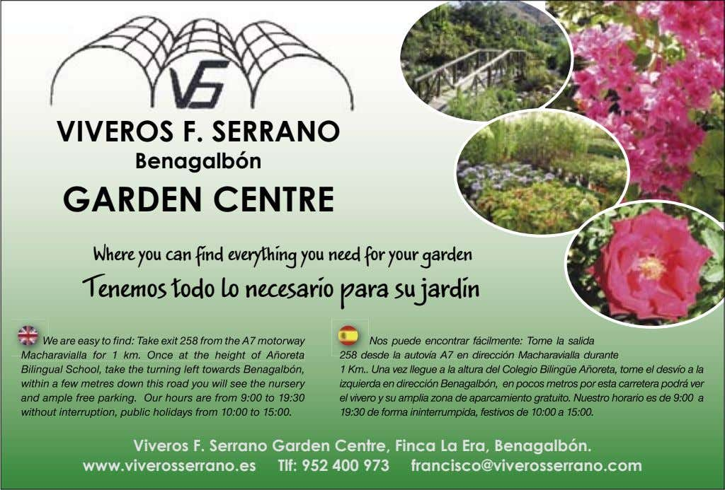 VIVEROS F. SERRANO Benagalbón GARDEN CENTRE Where you can find everything you need for your