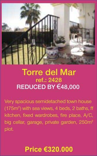 Torre del Mar ref.: 2428 REDUCED BY €48,000� Very spacious semidetached town house (175m 2