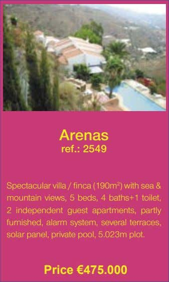 Arenas ref.: 2549 Spectacular villa / finca (190m 2 ) with sea & mountain views,