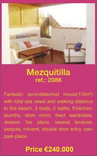 Mezquitilla ref.: 2086 Fantastic semi-detached house(110m 2 ) with total sea views and walking distance