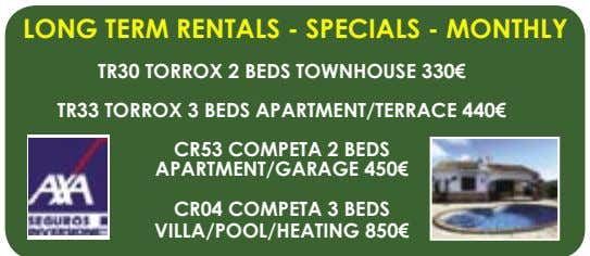 LONG TERM RENTALS - SPECIALS - MONTHLY TR30 TORROX 2 BEDS TOWNHOUSE 330€ TR33 TORROX