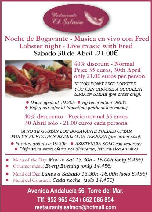 Noche de Bogavante - Musica en vivo con Fred Lobster night - Live music with