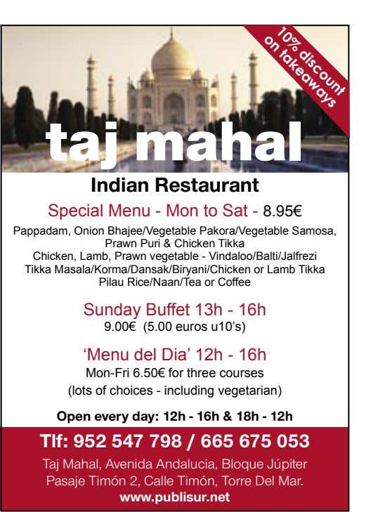 discount on 10% takeaways taj mahal Indian Restaurant Special Menu - Mon to Sat -