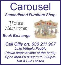 Carousel Secondhand Furniture Shop 'House Clearances' Book Exchange Call Gilly on: 630 211 907 Lake