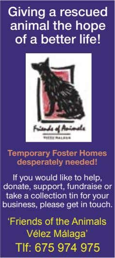 Giving a rescued animal the hope of a better life! Temporary Foster Homes desperately needed!
