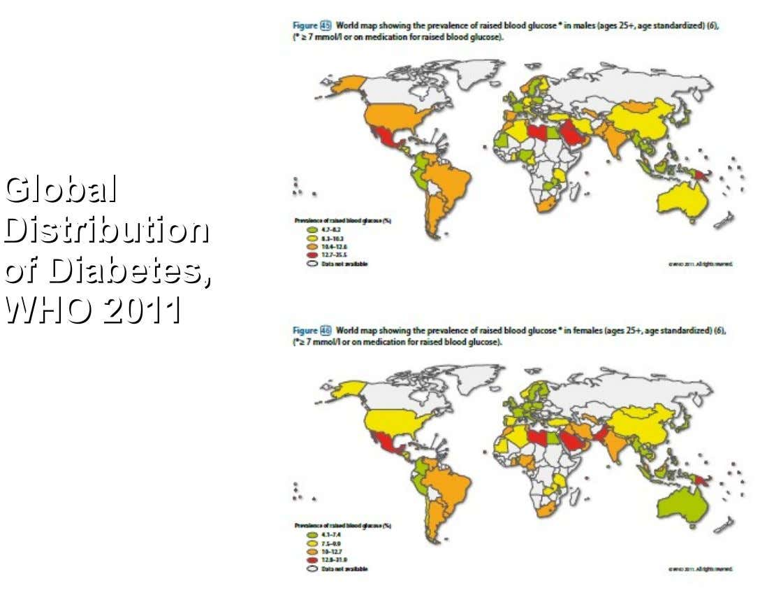 Global Global Distribution Distribution of of Diabetes, Diabetes, WHO WHO 2011 2011