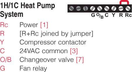 1H/1C Heat Pump System G C Y R Rc Rc Power [1] R [R+Rc joined