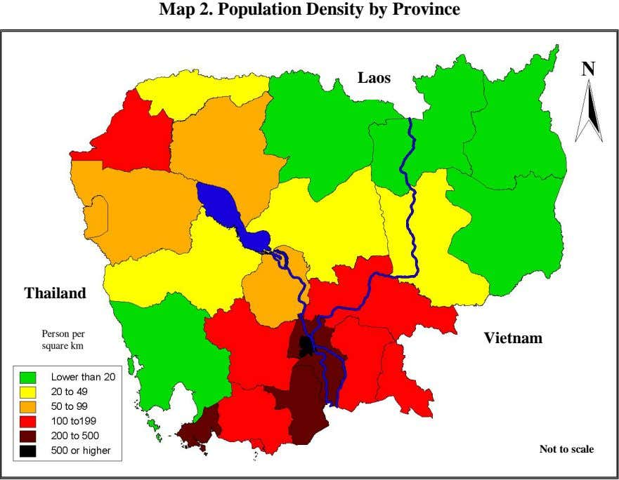 Map 2. Population Density by Province Laos Thailand Person per Vietnam square km Not to