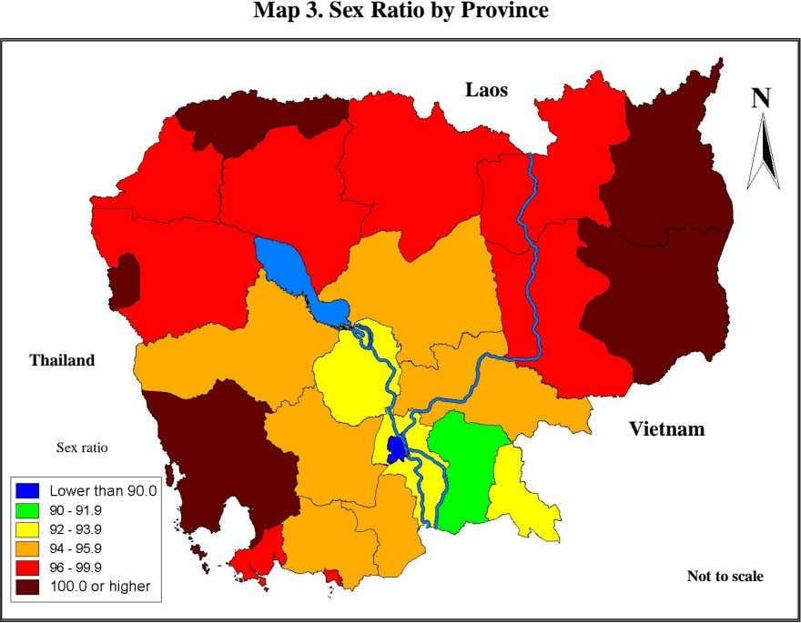 Map 3. Sex Ratio by Province Laos Thailand Vietnam Sex ratio Not to scale