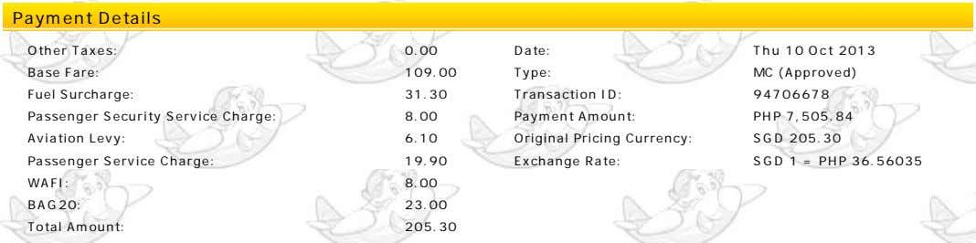 Payment Details Other Taxes: 0.00 Date: Thu 10 Oct 2013 Base Fare: 109.00 Type: MC