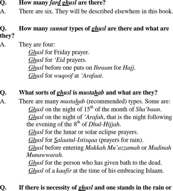 Q. How many fard ghusl are there? A. There are six. They will be described