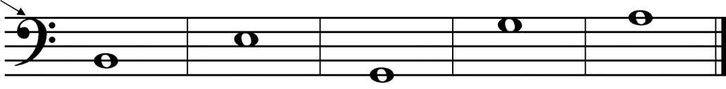 Look at the clef sign. 5 5. Print the letter name of these notes on the