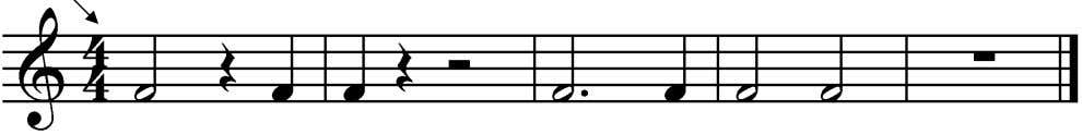each note and each rest. Look at the time signature. 3 13. The second note of