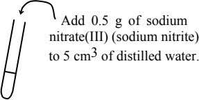 Add 0.5 g of sodium nitrate(III) (sodium nitrite) to 5 cm 3 of distilled water.