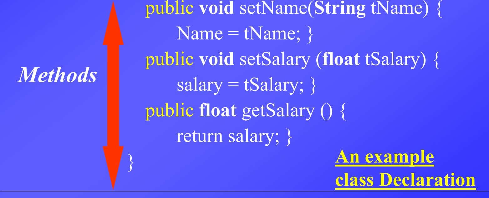 Methods public void setName(String tName) { Name = tName; } public void setSalary (float tSalary)