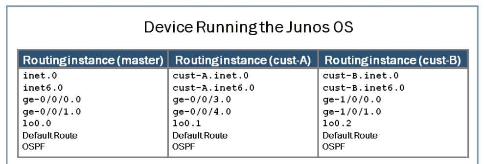 entry is ge-0/0/0.0. Overview of Routing Instances The Junos OS logically groups routing tables, interfaces,