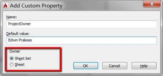 Nowwecandefineanewcustomproperty. Forthefirstproperty,fill ProjectOwner aspropertyname.Youmayfillanythingin DefaultValue.