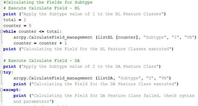 Practicum Project December 13, 2013 Figure 27 – Calculate Field process Subtype Management tools The subtypes