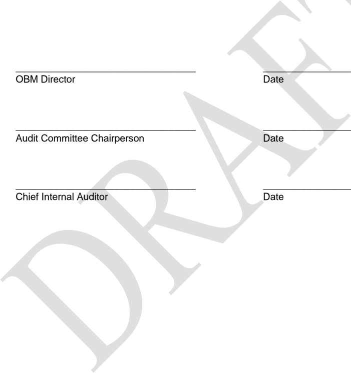 OBM Director Date Audit Committee Chairperson Date Chief Internal Auditor Date