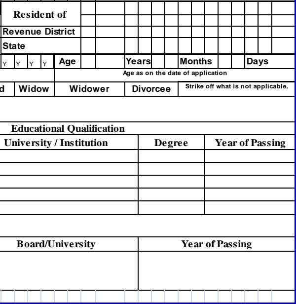 Resident of Revenue District State Years Months Days Age as on the date of application