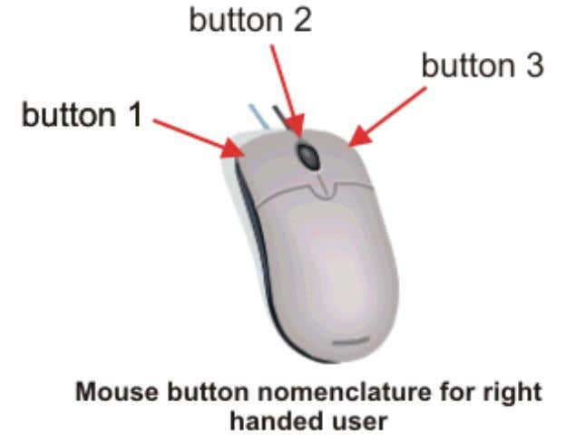 on the standard mouse configuration for a right handed user. Mouse button 1 - the left