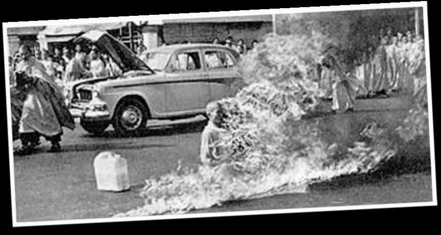 "5.""THE BURNING MONK"" June 11, 1963, Thich Quang Duc, a Buddhist monk from Vietnam, burned himself"
