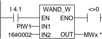 I 4.1 WAND_W <>0 EN ENO PIW1 IN1 16#0002 IN2 OUT MWx *