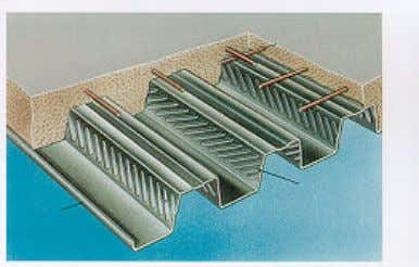for flooring purposes are similar to those for roof decking. Figure 4: A Steel-concrete composite floor
