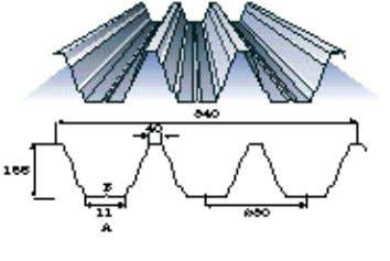 4 Figure 3: Modern form of profiled steel sheeting. Stiffeners in flanges and webs. A huge