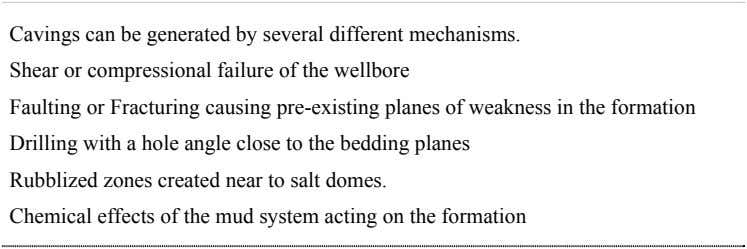 Cavings can be generated by several different mechanisms. Shear or compressional failure of the wellbore