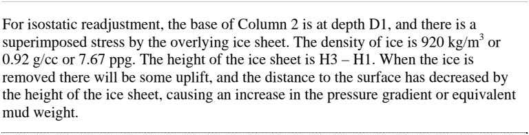 For isostatic readjustment, the base of Column 2 is at depth D1, and there is