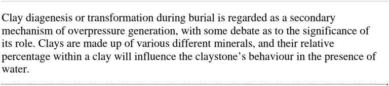 Clay diagenesis or transformation during burial is regarded as a secondary mechanism of overpressure generation,