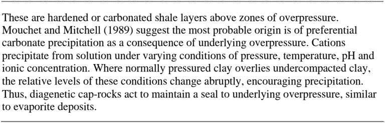 These are hardened or carbonated shale layers above zones of overpressure. Mouchet and Mitchell (1989)