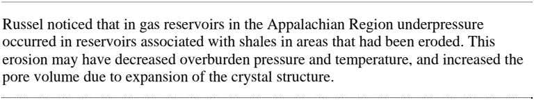 Russel noticed that in gas reservoirs in the Appalachian Region underpressure occurred in reservoirs associated