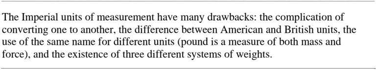 The Imperial units of measurement have many drawbacks: the complication of converting one to another,
