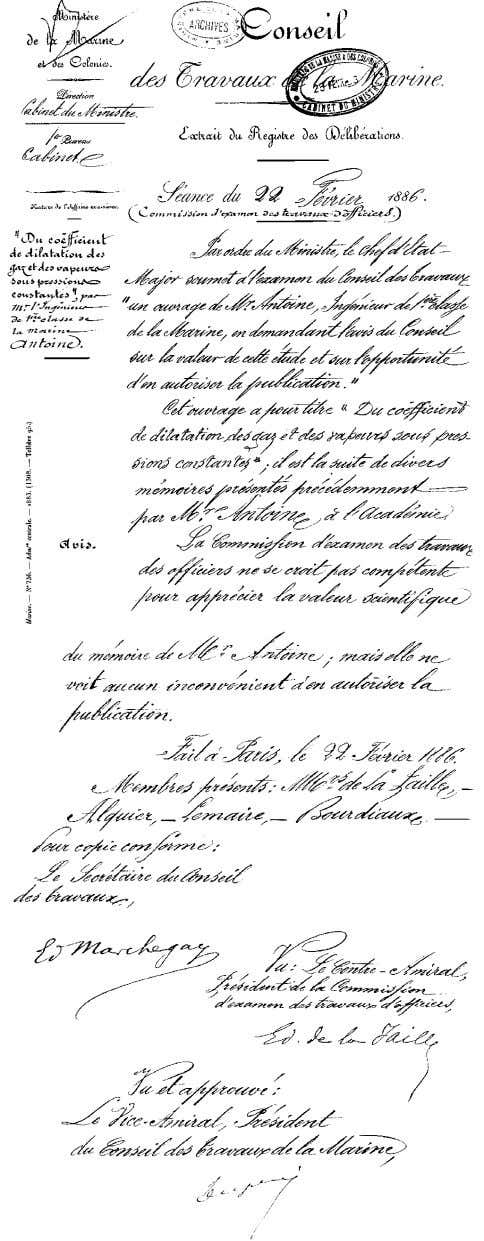 General Interest Fig. 3 Document from the French Navy allowing Antoine to pub- lish his work