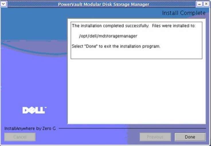 Installation of MDSM 16. Click Done . Do not install the multi-path driver at this time.