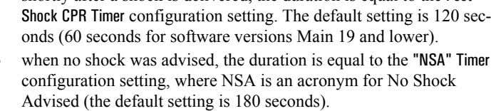 Timer configuration setting, where NS A is an acronym for No Shock Advised (the default se