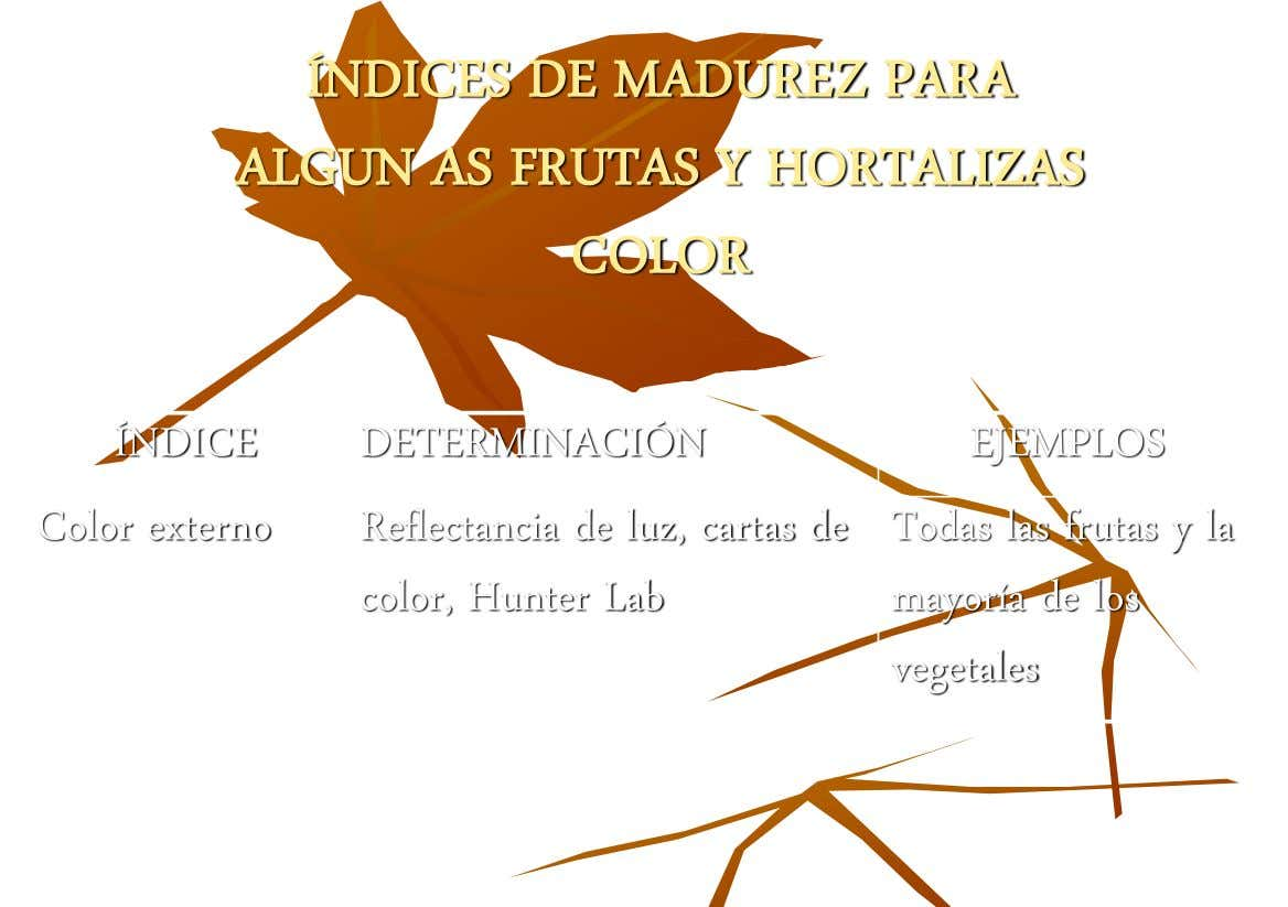 ÍNDICES DE MADUREZ PARA ALGUN AS FRUTAS Y HORTALIZAS COLOR ÍNDICE DETERMINACIÓN EJEMPLOS Color externo Reflectancia