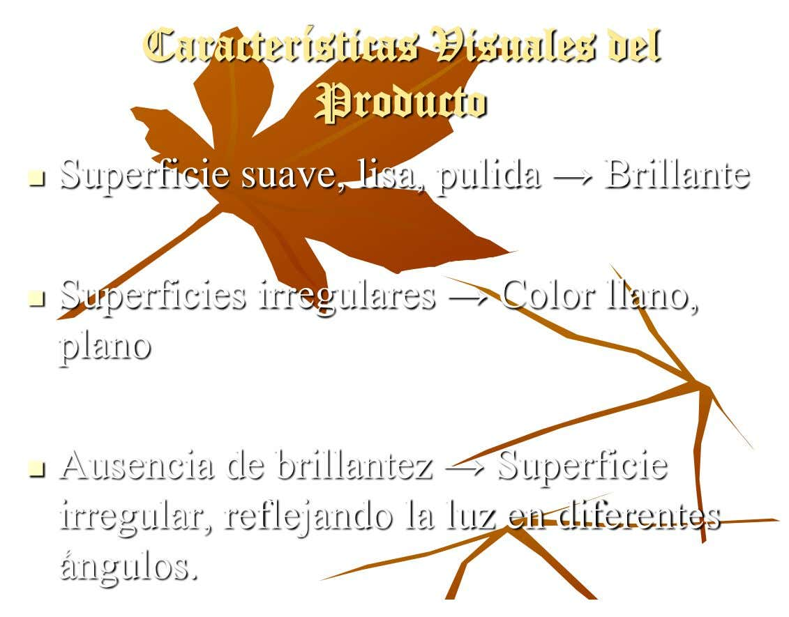Características Visuales del Producto Superficie suave, lisa, pulida → Brillante  Superficies irregulares → Color llano,