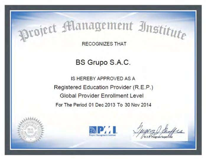 Registered Education Provider (R.E.P.) como Global Provider. ¿QUé ES UN REGISTERED EDUCATION PROvIDER (R.E.P.)? Es una