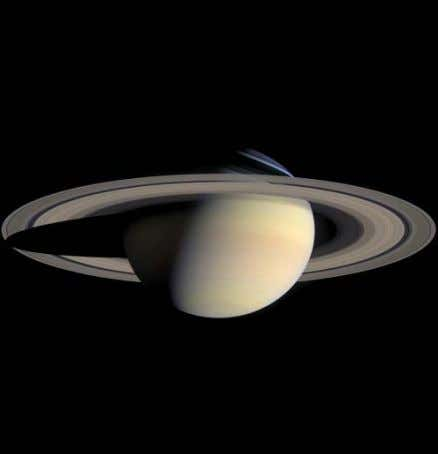 Saturn's spectacular rings are mostly made of water ice. Each ring averages about 30 feet