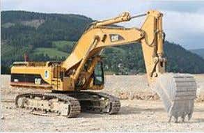 An excavator; main hydraulics: Boom cylinders, swingdrive, cooler fan and trackdrive