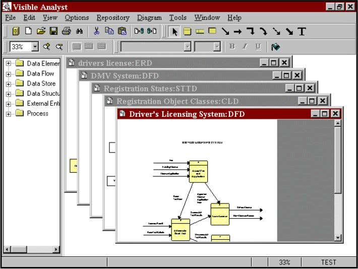 You can also switch between open and minimized diagrams. Figure 1-8 Cascaded Multiple Diagram Windows Help