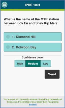 Level is included in a question. Select an answer and the confidence level, and click the