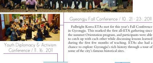 Gyeongju Fall Conference / 10 . 21 - 23 . 2011 Youth Diplomacy & Activism