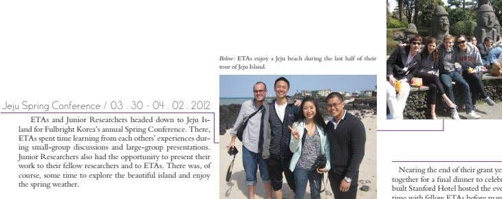 Below: ETAs enjoy a Jeju beach during the last half of their tour of Jeju